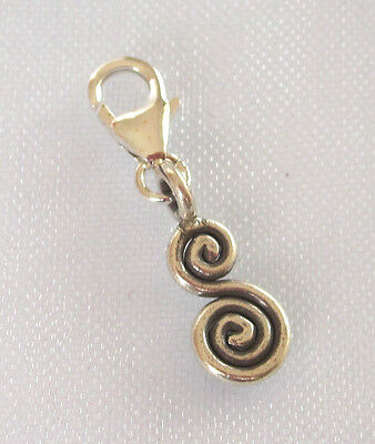 Solid 97% Sterling Silver S SWIRL clip on charm pendant fits charm bracelet