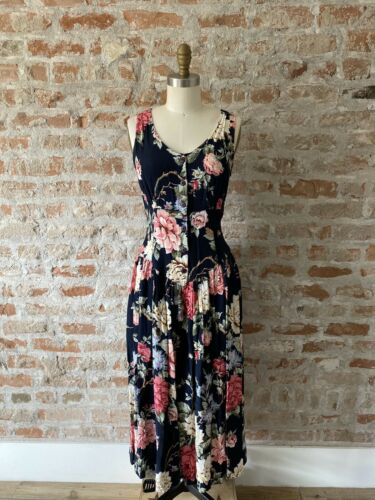 Vintage 80's Navy Carol Anderson Pleated Floral Dr