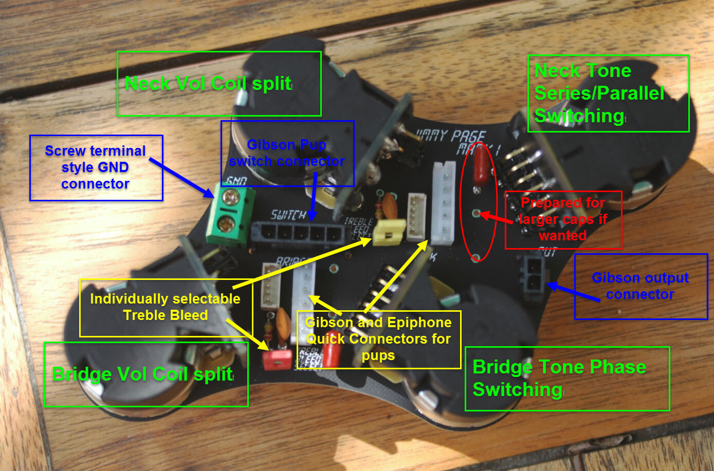 Gibson or Epiphone Control Board for Les Paul - Jimmy Page Mk 1 - Treble Bleed