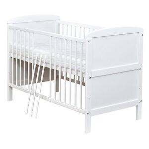 babybett kinderbett gitterbett wei umbaubar 140x70 matratze neu ebay. Black Bedroom Furniture Sets. Home Design Ideas