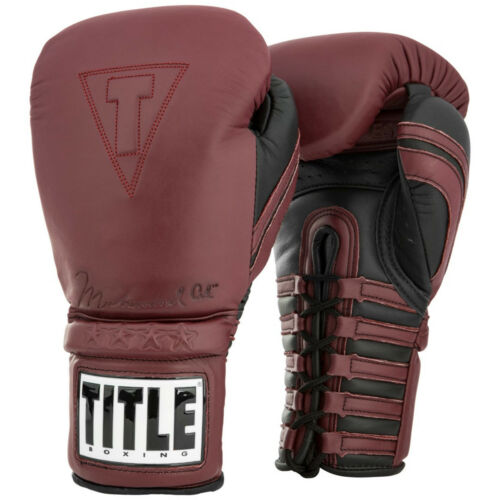 Maroon Title Boxing Ali Authentic Lace Up Leather Training Boxing Gloves
