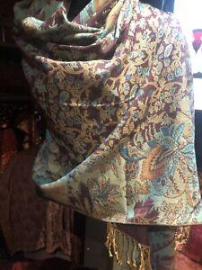 Nemesis Vintage Style Knit Brocade Bright Rainbow Pride Pashmina Scarf Wrap