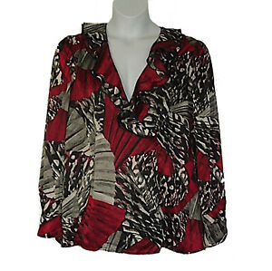 East-5th-Crossover-Front-Ruffled-V-Neck-Fall-Top-Maroon-Gray-Black-Plus-Size-3X