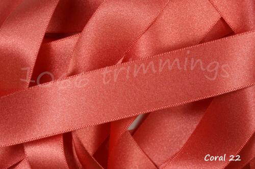 Coral 22 Satin Ribbon Double Sided Berisfords Choice Widths /& Lengths  3501