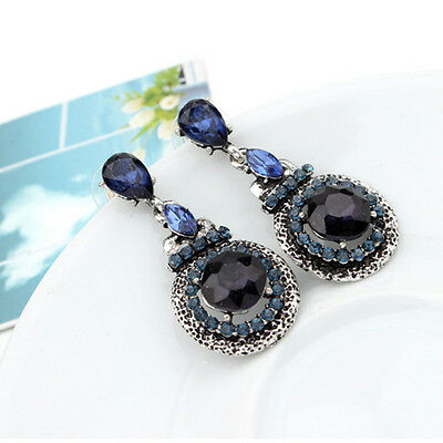New Fashion Retro Women Blue Gem Crystal Ear Stud Dangle Drop Earrings Gift