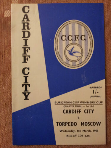 196768 European Cup Winners Cup Quarter Final CARDIF CITY v. TORPEDO MOSCOW