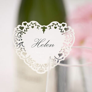 10 laser cut heart name place cards for glass wedding vintage