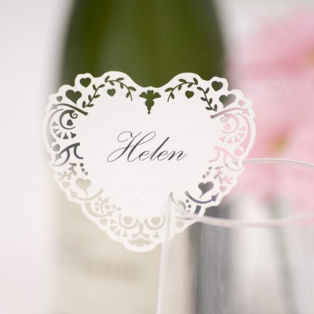 10 laser cut heart name place cards for glass wedding Vintage Romance range