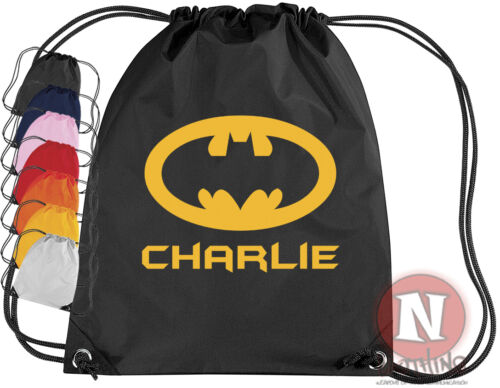 Personalised Drawstring Bag BATMAN School Gym PE Kit Sport add child/'s name