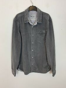 Men-039-s-AllSaints-Corduroy-Cord-Long-Sleeve-Over-Shirt-Top-Grey-UK-Size-S-Small