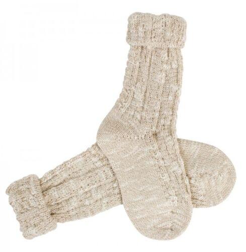 Trachtensocken Socken  Umschlagsocke mit Zopf für Kinder in natur