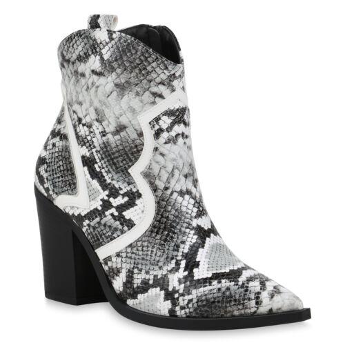 Damen Stiefeletten Cowboy Boots Snake Print Western High Heels 899122 New Look