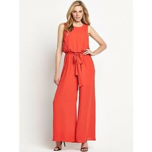 Realistisch Bnwt Savoir Red Chiffon Wide Leg Jumpsuit Catsuit Size Uk 12