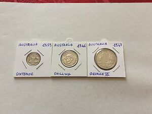 3-pieces-argent-Australie-6-pence-1959-1-shilling-1946-florin-George-VI-1947
