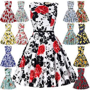 Talla-Grande-Mujer-Anos-50-ANOS-60-Floral-Vintage-Estilo-Coctel-Swing-Vestidos