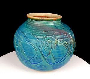 "STUDIO ART POTTERY TURQUOISE BLUE PINK MOTTLED LARGE WHEEL-THROWN 6 3/4"" VASE"