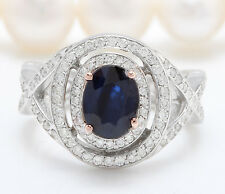 2.40CTW Natural Blue Sapphire and DIAMOND in 14K White Gold Women Ring
