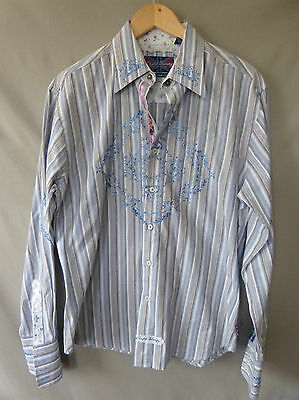 English Laundry Mens Shirt M Cotton Blue Tan Striped Floral Button Down