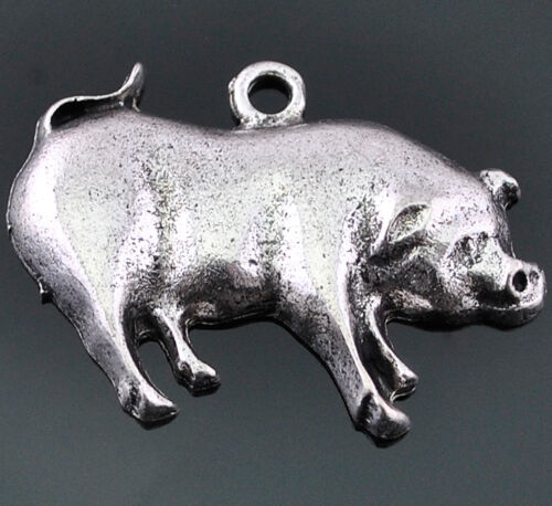 10pcs Antique Silver Cute Alloy Pig Bracelet  Pendant  Findings 30x22mm DZ278