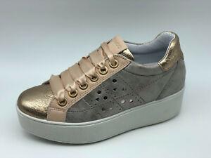 Dettagli su Sneakers Igi&co 5158611 beige e oro zeppa 5 cm Made in Italy