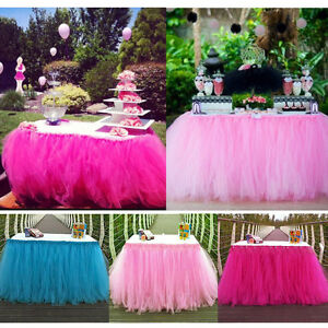 Wedding party tulle tutu table skirt tableware birthday baby image is loading wedding party tulle tutu table skirt tableware birthday junglespirit Choice Image