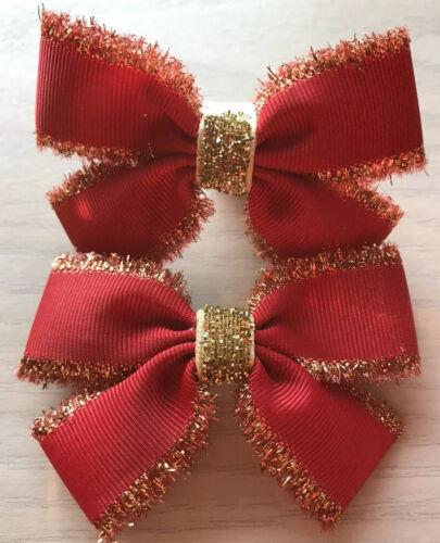 2 Filles Rouge et Or Fait à la main ruban School hair bows//FERMOIRS//CLIPS