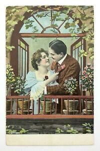 Man-Woman-Couple-Love-Postcard-Divided-Back-Posted-1908-Date-Stamp-N068