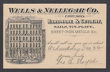 US Sc UX12 miscut 1897 Advertising Postal Card for Hardware & Cutlery, Chicago.