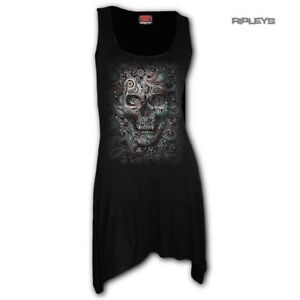 Spiral-Ladies-Gothic-ILLUSION-Paisley-Sugar-Skull-Camisole-Dress-Top-All-Sizes