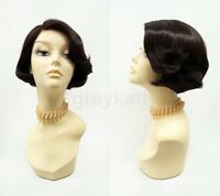 Pre-trimmed Lace Front Brown Short Bob Wig Heat Resistant 60s 70s Retro Style