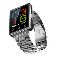 Stainless Steel Smart Watch Phone Bluetooth 4.0 Quad Band SIM for Android IOS