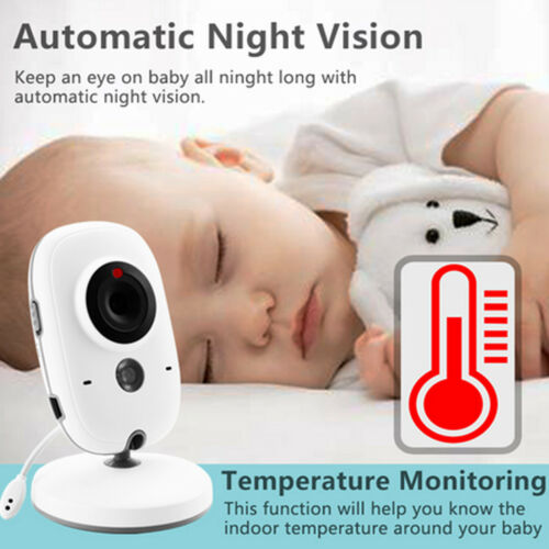 Wireless Video Color Baby Monitor w// 3.2Inches LCD 2 Way Audio Talk Babysitter R