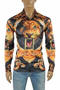 7aaa83d7f020 VERSACE Tiger print Men s Dress Shirt Long Sleeve Black and Gold 172 ...