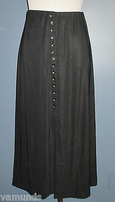 Briggs Mid-Calf Stretch Black Slinky Skirt Sz PM M Front Slit Elastic Waistband
