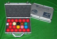 ARAMITH SUPERPRO 1G SET WORLD CHAMPIONSHIP SNOOKER TABLE BALLS ALUMINIUM CASE