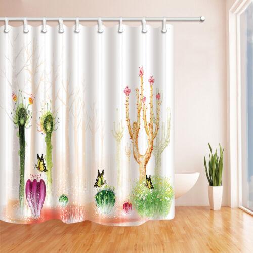 environ 180.34 cm Desert plantes Rideau de douche Set Aquarelle Cactus Arbre Salle De Bain Rideau 71 in