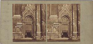 Firenze-Florence-Portail-Del-Dome-Italia-Stereo-Vintage-Albumina-Ca-1860