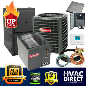 Details about 3 Ton Goodman AC/Heat System   Install Kit   Upflow, on hvac package units, ceiling mounted hvac units, horizontal hvac units, goodman hvac units,