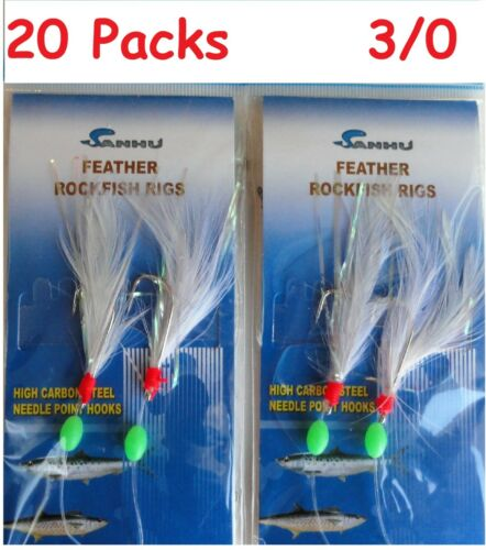 3,5,10,24,100 Packs taille 3//0 Rock Cod Feather Rigs plume blanche Rockfish Appât