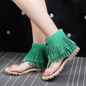 d5bd92af9c7c0 Plus Size 34-47 Boho Womens Tassel Flip Flops Sandals Zip back ...