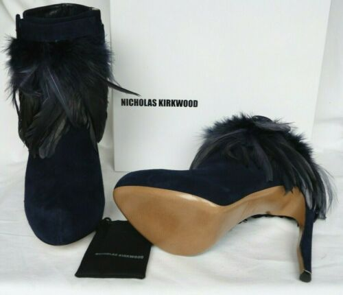 Nuevo Nicholas Kirkwood Blue Suede & Feather Plataforma Tobillo Botas Talla 38.5 Reino Unido 5.5