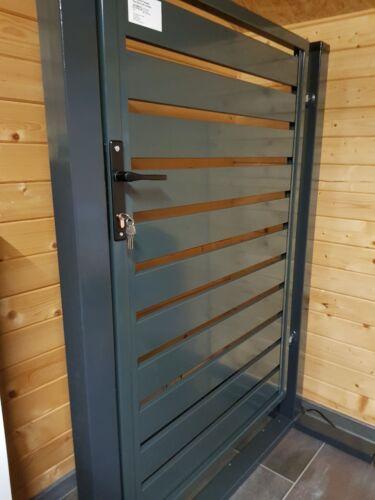 Gartentor Gartentür Pforte Tür Tor 1 Flügelig Füllung 120x100cm Anthrazit 180° L