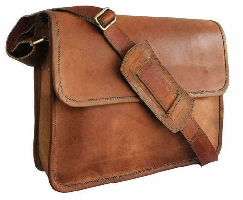 Vintage Goat bag Messenger Bag Leather Laptop Men Briefcase Real Shoulder