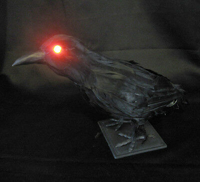 Large Lifesize Lighted Feathered Crow Sound Bird Halloween Haunted House Prop