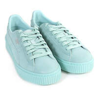 Puma Women's Basket Platform Reset Suede Lace Up Trainer Aruba Blue
