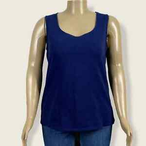 Faded Glory Tank Top Shirt Sapphire Blue Scoop Neck Sleeveless 2X 18W 20W PLUS
