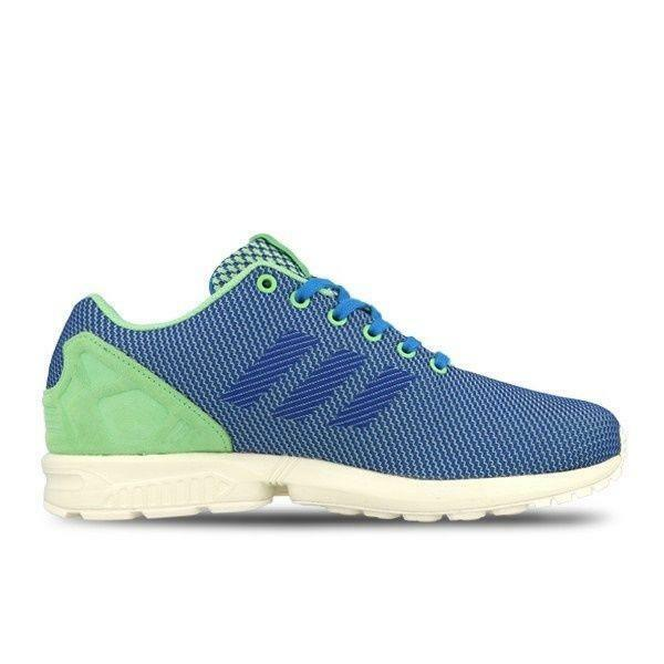 Mens ADIDAS ZX FLUX WEAVE Blue/Green Textile Trainers AF6294 Great discount