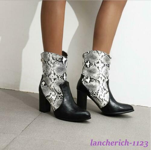 Details about  /Snakeskin Women/'s Ankle Boots Chunky Heel Shoes Knight Pointy Toe Splicing Chic