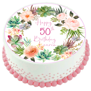 Image Is Loading Succulents Flowers Edible Cake Topper 50th 60th 70th