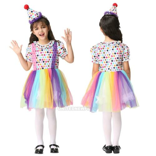 Baby Kids Girl Clown Custome Dress Halloween Cosplay Witch Costume Party Dresses
